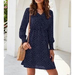 Blue Polka Dots Ruffle Fit & Flare Mini Dress